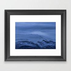 Winter magic blue mountain Framed Art Print