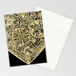 golden heart I love you Stationery Cards