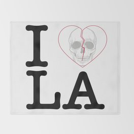 I Heart Skull Los Angeles Throw Blanket