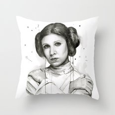 Princess Leia Watercolor Carrie Fisher Portrait Throw Pillow