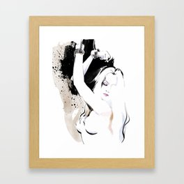 Beauty portrait, Woman slave handcuffs, Nude art, Black and white, Fashion painting Framed Art Print