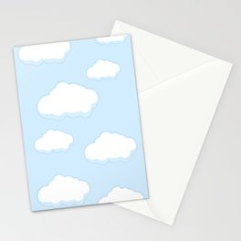Blue sky with white clouds flat style simple.  Stationery Cards
