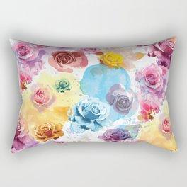 Watercolor Roses Rectangular Pillow