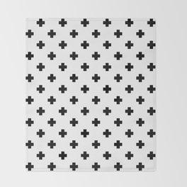 Black and White Swiss Cross Pattern Throw Blanket