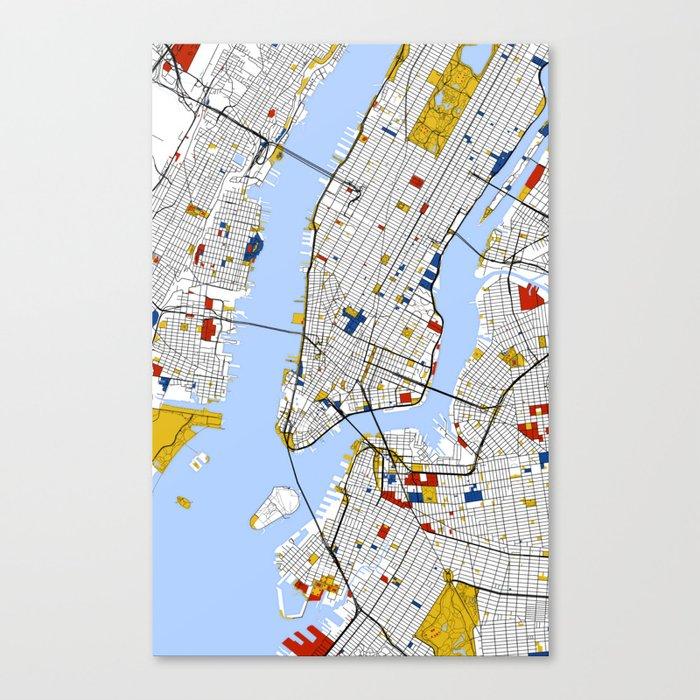 City Map Of New York City.New York City Map Art Print Street Map Art Canvas Print By