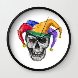 Jester Skull Laughing Tattoo Wall Clock