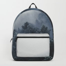 Snowy Evergreen Forest Fog (Color) Backpack
