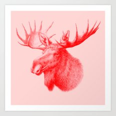 Moose red Art Print