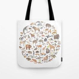 100 animals Tote Bag