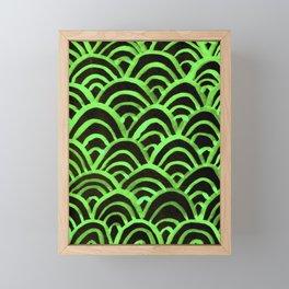 Handpainted Scallops Mermaid Scales Green and Black Framed Mini Art Print