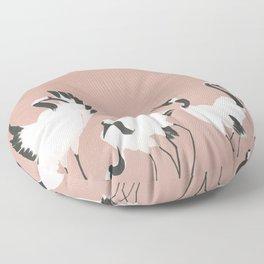 Crane Dance - Mauve Pink Floor Pillow