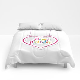 Happy birthday. pink heart on White background. Comforters