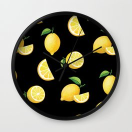 Lemons on Black Wall Clock
