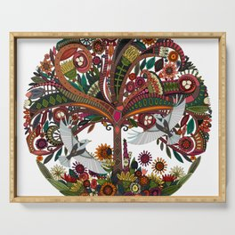 tree of life white Serving Tray