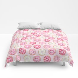 Pink Donuts Pattern on a pink background Comforters