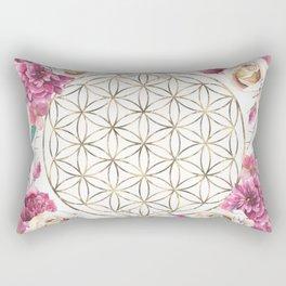Flower of Life Rose Garden Gold Rectangular Pillow