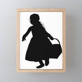 Little Girl with a Basket - Silhouette Framed Mini Art Print