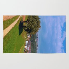 Old tree, small village, beautiful panorama | landscape photography Rug