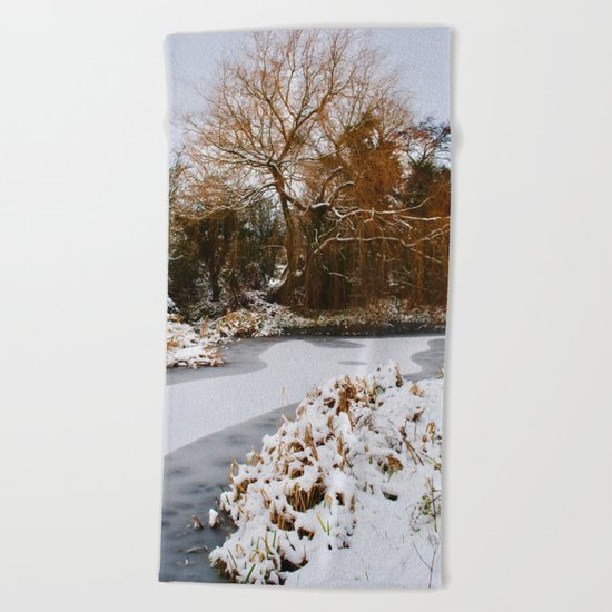 The Old Mill Stream in Winter Beach Towel