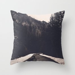Foggy Forest Road - Lets Get Wild Nature Photography Throw Pillow