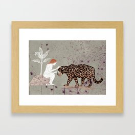 the woman with a jaguar Framed Art Print
