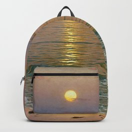 Dusk over the Coast with Lighthouse seascape nautical painting by Guillermo Gómez Gil  Backpack