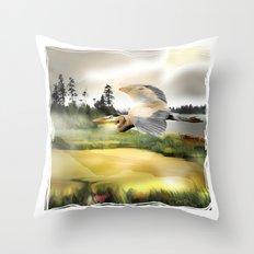 Heron Wetlands Throw Pillow