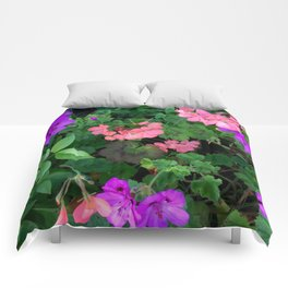 Pink and purple garden Comforters