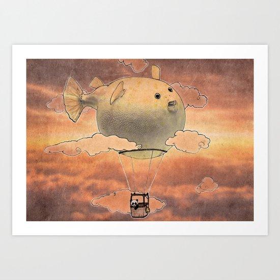 Panda fliying in a Blow fish 2 Art Print