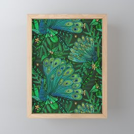 Peacocks in Emerald Forest Framed Mini Art Print