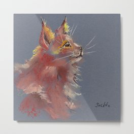 Red cute fluffy cat drawing by pastel Metal Print
