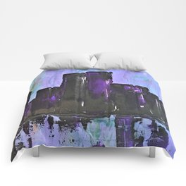 Purple City. Cyber Punk City. Jodilynpaintings Purple City Abstract Comforters
