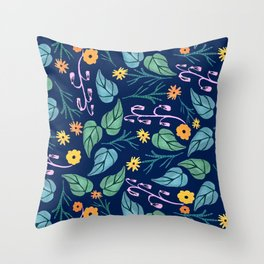 Watercolour dark blue seamless pattern background with whimsical flowers. Throw Pillow