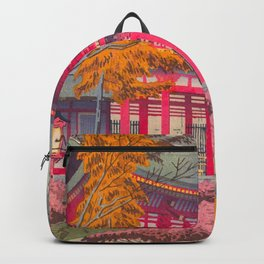 Japanese Woodblock Print Vintage Bright East Asian Red Pagoda Spring Garden Backpack