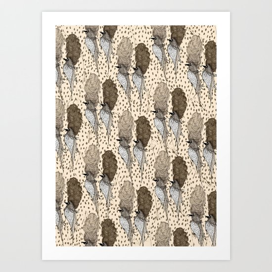 Bouffant Birds Pattern Art Print