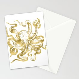 Gold Octopus Stationery Cards