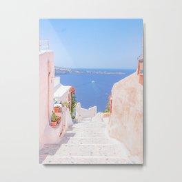Santorini Greece Mamma Mia pink street travel photography Metal Print