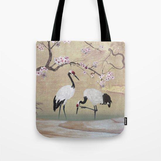 Cranes Under Cherry Tree Tote Bag