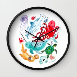 Ocean Creatures - Sea Animals Characters - Watercolor Wall Clock