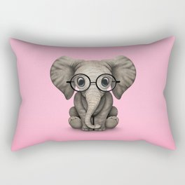 Cute Baby Elephant Calf with Reading Glasses on Pink Rectangular Pillow