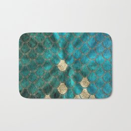 Multicolor Aqua And Gold Mermaid Scales -  Beautiful Abstract Pattern Bath Mat