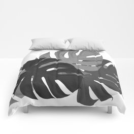 Monstera Leaves Black and White #decor #society6 #buyart Comforters