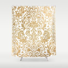 Gold foil swirls damask #12 Shower Curtain