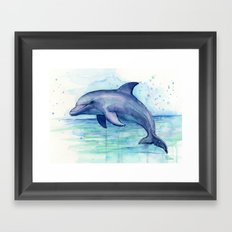 Dolphin Watercolor Sea Creature Animal Framed Art Print