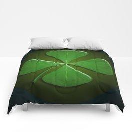 Lucky Clover On Dark Green Comforters