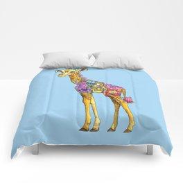 Geraldine the Geniunely Nice Giraffe Blue Comforters