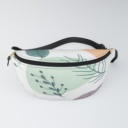 Modern summer retro pastel geometric shapes tropical leaf Fanny Pack