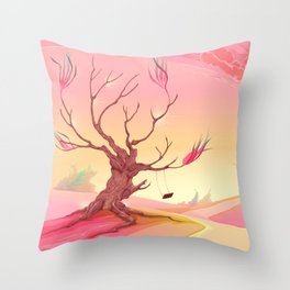 Romantic landscape with tree and sunset Throw Pillow