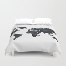 World Map in Black and White Ink on Paper Duvet Cover