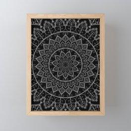 Black and White Lace Mandala Framed Mini Art Print